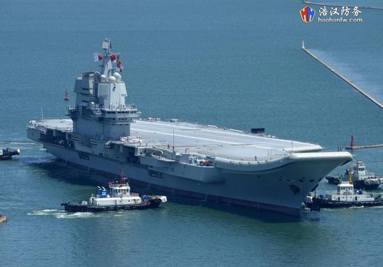 大连航母船坞已注满水 国产航母或将出坞第2次海试