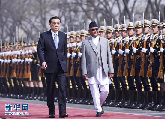 李克强同尼泊尔总理奥利举行会谈 图自新华社