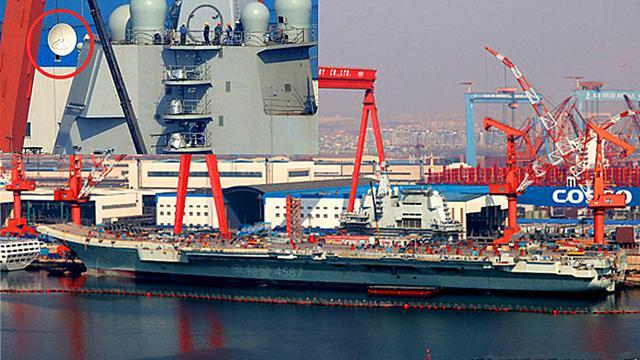 为海试作最后冲刺!中国国产航母再装卫星通信天线