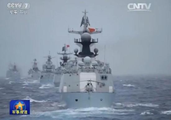 资料图:中国海军南海军演