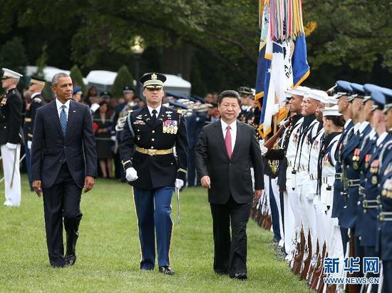 资料图:奥巴马欢迎习近平访美