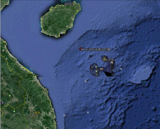 示意图:981平台赴海南陵水角东南方向约75海里处作业