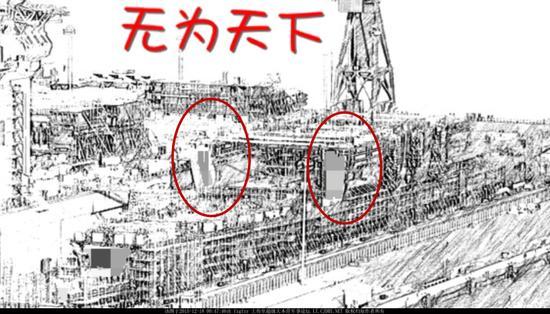 图为近日网上出现了一张疑似国产001A航母完成第8个机库分段吊装缩影图。虽然图不是很强清楚,但是已经可以清楚的看出来机库分段已经成形。