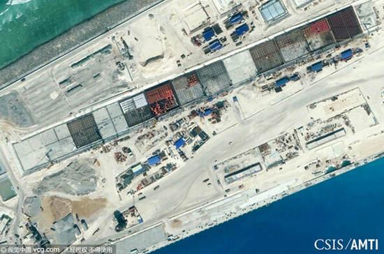 美方公布中国南沙第一大岛填海照。