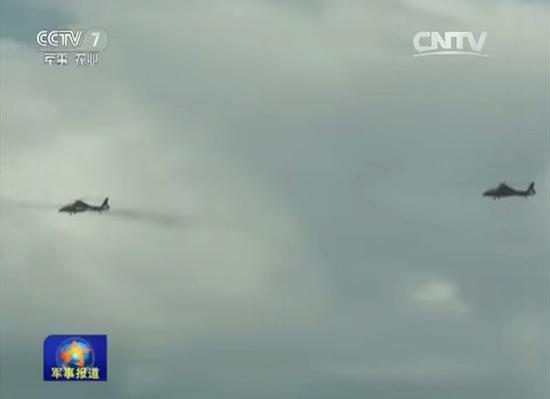 武直-10空中发射导弹。