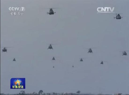 武直-9直升机起飞,铺天盖地