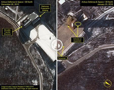 发射场与去年底状态的前后对比,显示近日朝鲜对路面积雪进行了清理,可能在准备发射
