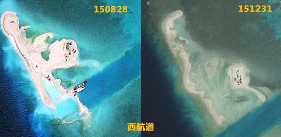 2015年8月与12月卫星对比照,可见此前堆填的大面积沙地已被海浪冲走