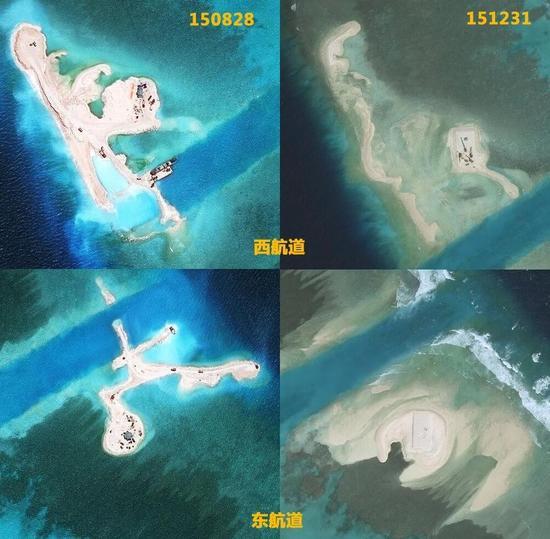 东西两处填海陆地在台风前后对比