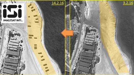 右图为2月3日的永兴岛海滩,左图2月14日的永兴岛海滩