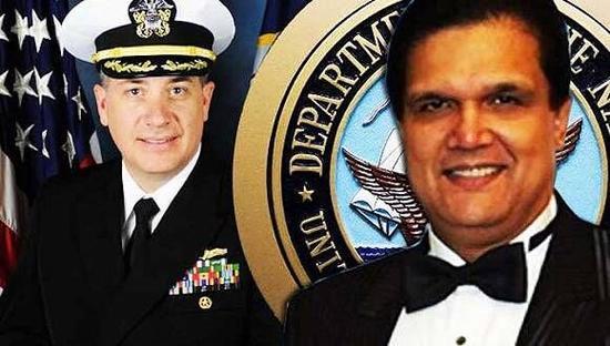资料图:美国海军上校丹尼尔(左)和马来西亚商人伦纳德(右)