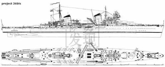 卡冈诺维奇号设计图,可以看到它装有三座主炮炮塔和水上飞机弹射器