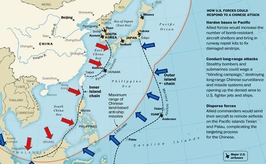 资料图:外媒绘制的中国东风21D导弹射程图。