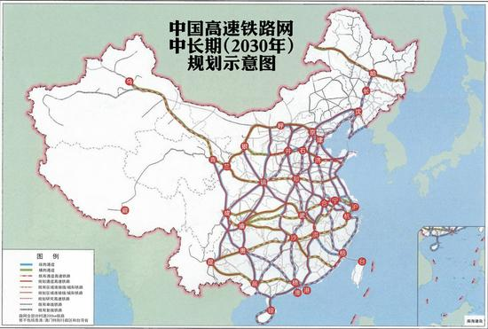 中國高鐵路網中長期規劃示意圖(來源網絡,非官方圖)