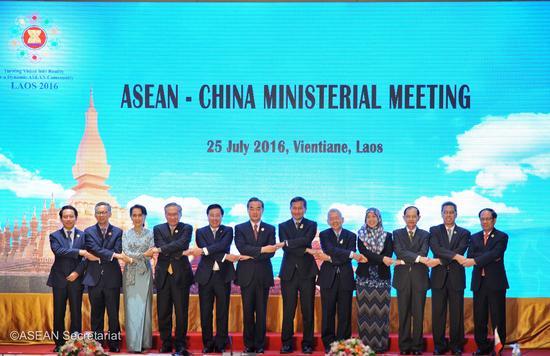 7月25日,中国和东盟国家外交部长在老挝万象举行会晤并发布联合声明(图片来源:东盟秘书处)