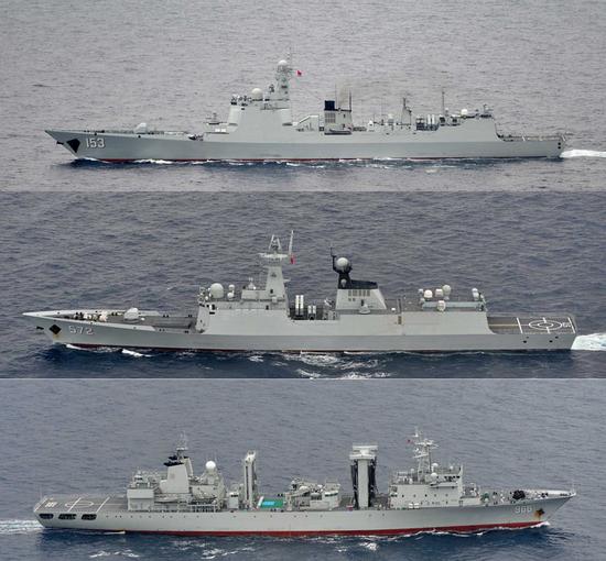 海自P-3C巡逻机8月14拍摄的西安舰编队:153西安舰、572衡水舰、966高邮湖舰(由上至下)