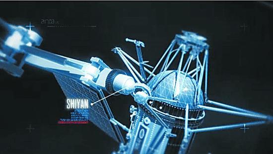 """美媒文章中使用的所谓中国""""实验""""卫星在轨进行捕获卫星试验的模拟图。"""