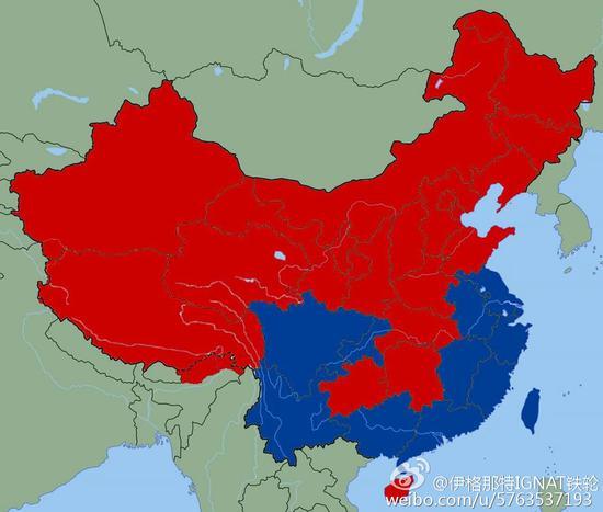 """台湾网友在中国地图上给数个省份涂成蓝色,意淫大陆""""战败割地""""."""