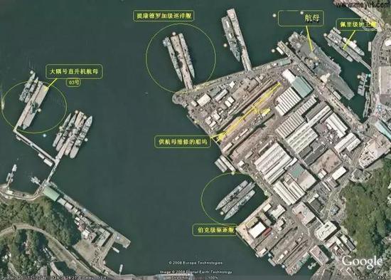 卫星照片里的驻日美军横须贺基地。