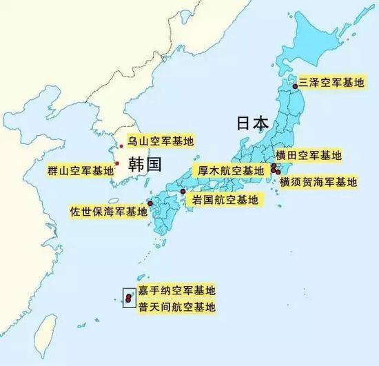 美军在日韩拥有最庞大的基地群。