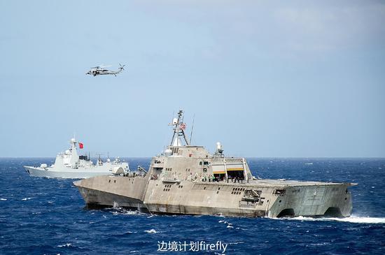 应美国海军邀请,参加RIMPAC-2016多国军演的中国海军导弹驱逐舰与美国海军lcs