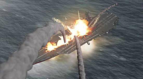 两枚反舰弹道导弹集中航母的模拟图