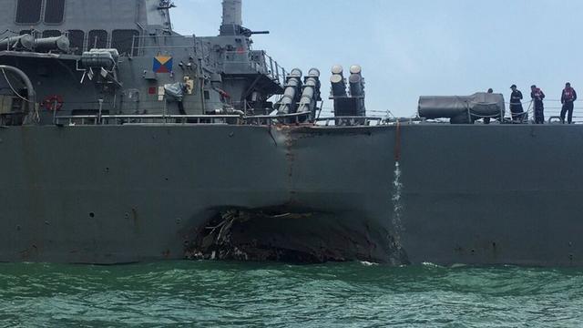 又双叒叕撞了!美军驱逐舰在新加坡与货船相撞