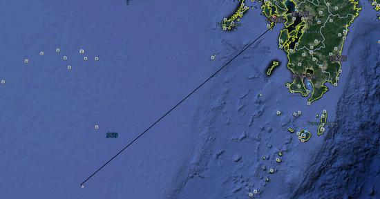 谷歌地球直线距离标注585公里