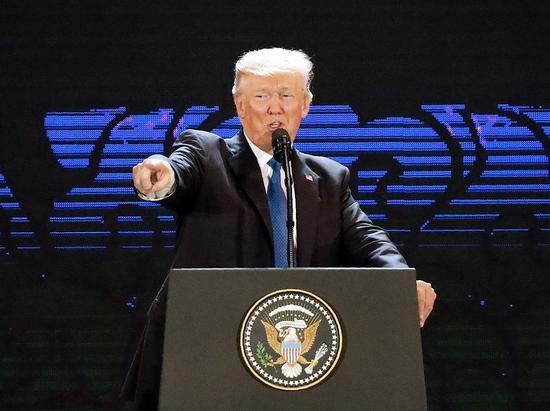 特朗普在APEC讲话,图源:VCG