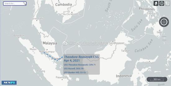 """美""""罗斯福""""号航母打击群经由马六甲海峡进入南海"""