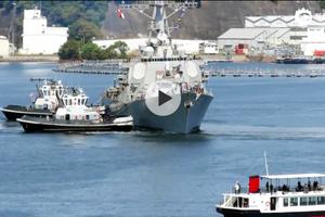 穿越台湾海峡的美军驱逐舰返回横须贺基地