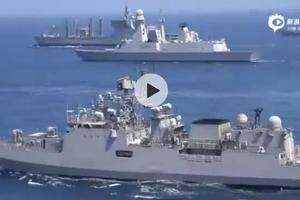 法国航母编队与印度海军在阿拉伯海西部联合演习