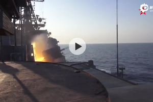 """俄军""""沙波什尼科夫元帅""""号反潜舰在日本海实射导弹"""
