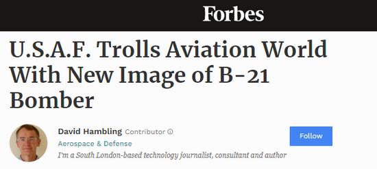 美军公布B21效果图 美专家:这是故意误导欺骗