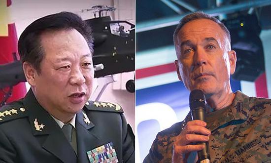 中央军委联合参谋部参谋长李作成与美国参谋长联席会议主席邓福德