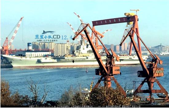 数日前国产航母的建造进展(图片来源:超大军事 蓝鲨小队)