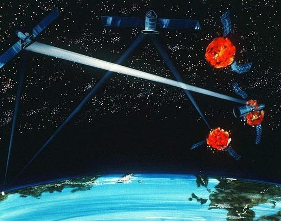卫星被击中假想画面