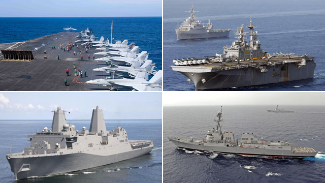 对华挑衅:美军15艘战舰春节在中国周边游弋
