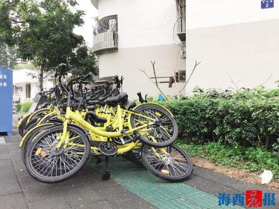 """官任路上,一排单车摆起了""""叠罗汉""""阵形。"""