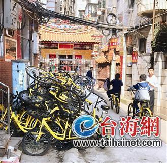 ▲蔡塘古地石,30多辆单车堆成小山