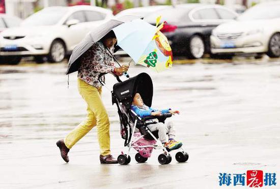 昨日,我市出现降温降雨天气。记者陈理杰摄