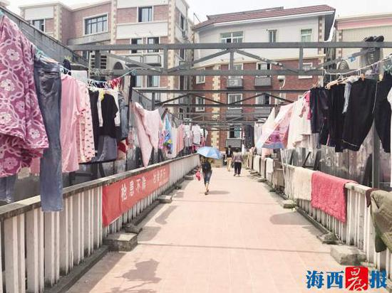 这座人行天桥的两侧,被晾满各类衣物和床上用品。 记者 陈小斌 摄