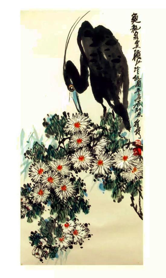 吕拴保丨《鱼龙寂莫》现代水墨画   33×67CM,2015年