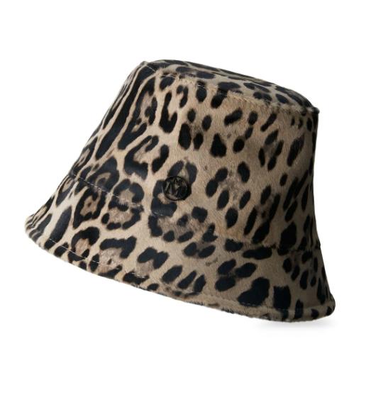 Maison  Michel豹纹钟形帽