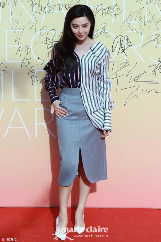 范冰冰衬衫:Monse 2017春夏系列半身迷笛裙:Thom Browne