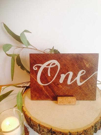 DIY木质桌牌号