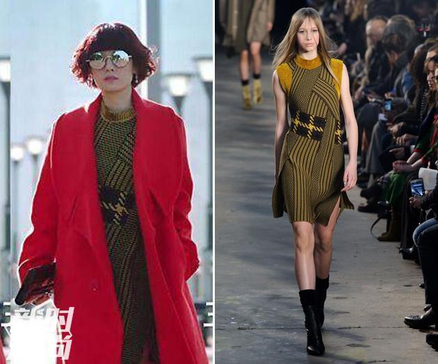马伊琍穿红大衣配3.1phillip lim军绿色针织裙
