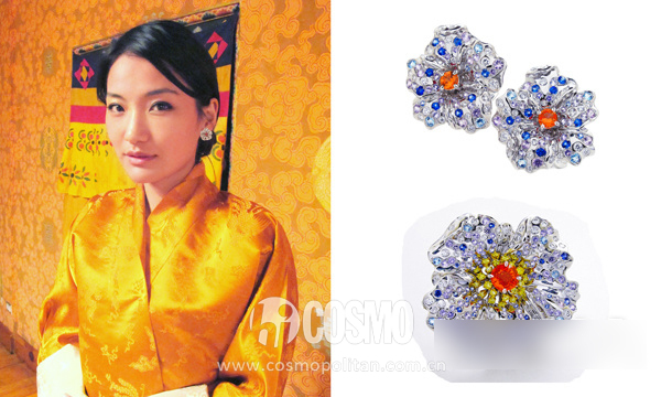 不丹王妃在婚礼上选择Anna Hu的耳环、戒指点缀婚服
