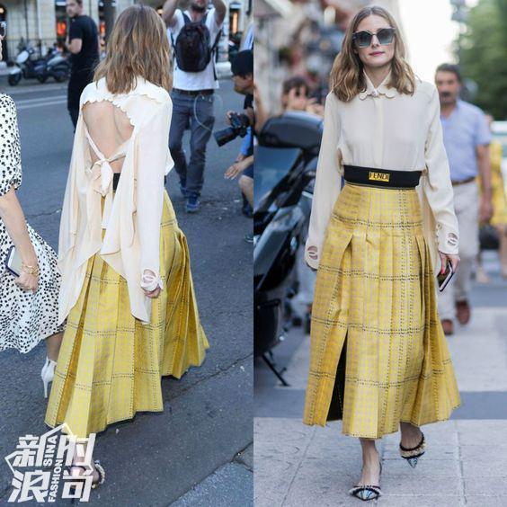 时尚名媛穿白色配黄色街拍