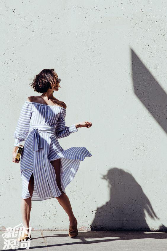 时尚博主示范一字领衬衫裙穿法